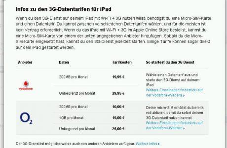 Datentarife für Apple iPad 3G von o2 und Vodafone
