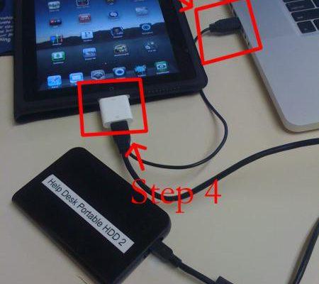 Anschluss externer USB Festplatte an Apple iPad mit Apple iPad Connection Kit