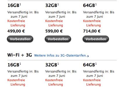 Apple iPad 3G und iPad WiFi - Lieferung bis Juni