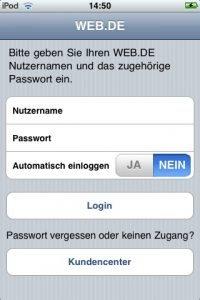 Kostenlose web.de App für Apple iPhone