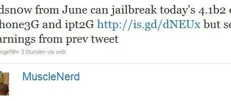 musclenerd bestätigt redsn0w Jailbreak für iPhone 3G mit iOS 4.1 beta 2