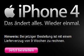 Lieferdauer iPhone 4 Telekom 9 Wochen