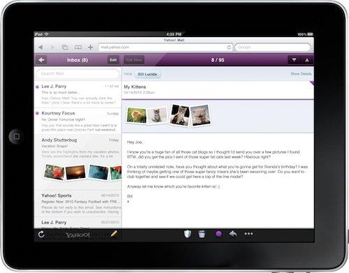 Yahoo Mail mit HTML5 auf dem Apple iPad