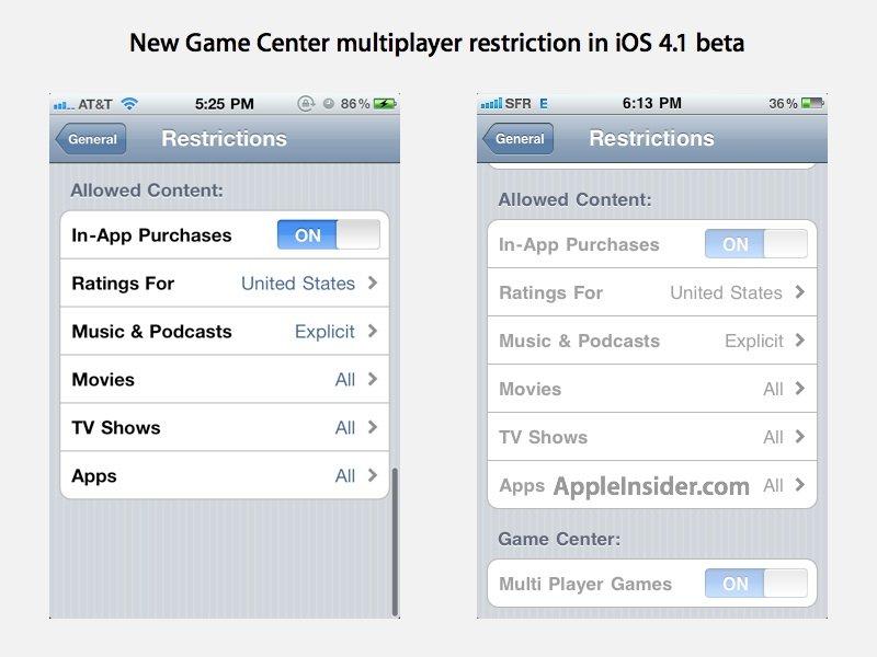 iOS 4.1 Game Center Multiplayer Support abschalten