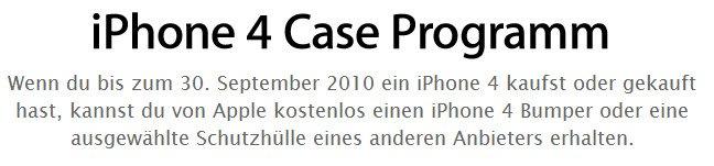 Apple iPhone 4 Case Programm für kostenlose iPhone 4 Hüllen bis Ende September