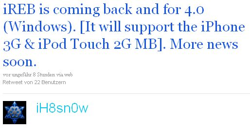 Jailbreak-Tool iREB 4.0 für Downgrade iPhone 3G & iPod touch 2G MC