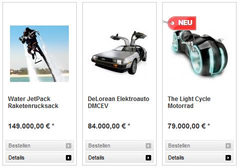 Raketenrucksack, DMC Delorean (Zurück in die Zukunft) und TRON Motorrad!