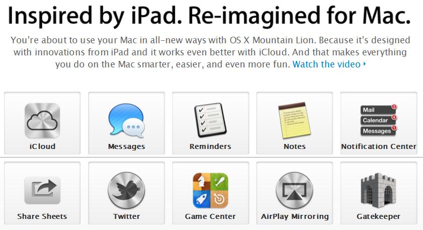 Mountain Lion inspiriert vom Apple iPad