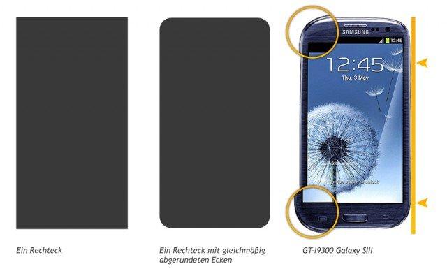 """Galaxy S3 jetzt OHNE """"gleichmäßig abgerundete Ecken"""""""