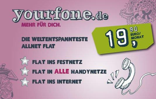 Yourfone Allnet-Flat + Internetflat mit kostenlosem Startpaket nur bis 31.Juli 1