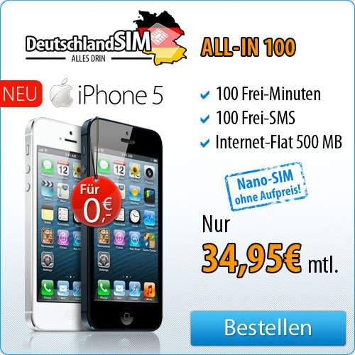 DeutschlandSIM - iPhone 5 für 0 Euro