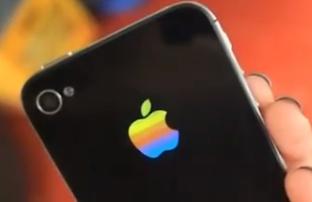 Leuchtendes Regenbogen Apple Logo für iPhone 4S und iPhone 4!