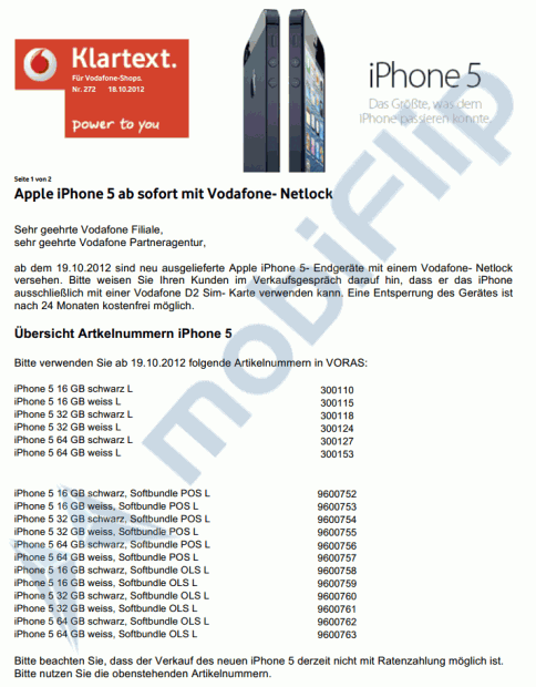 iPhone 5 Vodafone mit Netlock