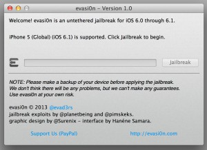 Evasi0n iOS 6.1 Jailbreak Download / Anleitung deutsch evasi0n 1.0 300x218