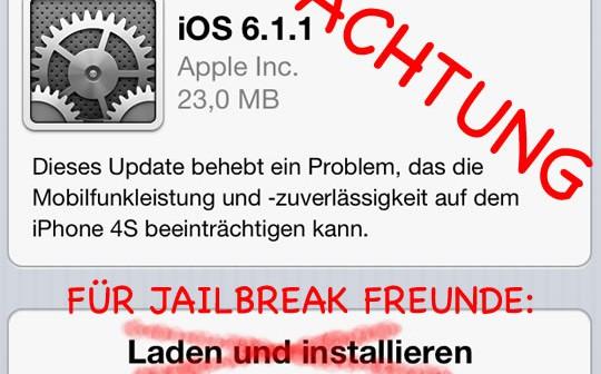 ACHTUNG iOS 6.1.1 für iPhone 4S ist da!