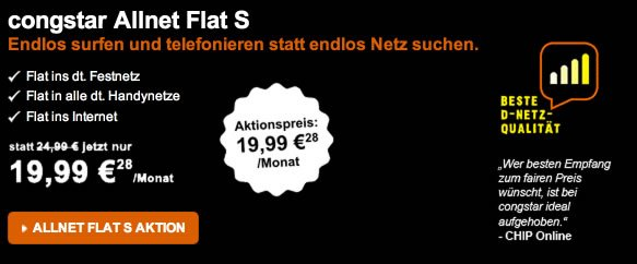 aktion congstar allnet flat im telekom netz f r 19 99 eur. Black Bedroom Furniture Sets. Home Design Ideas