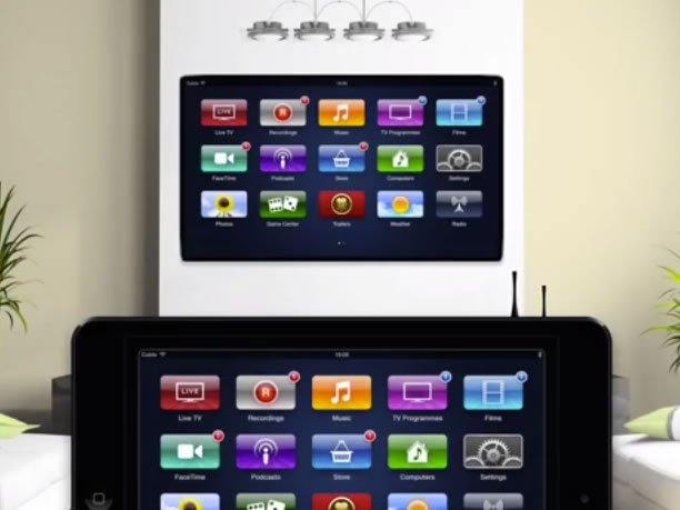 apple tv apple fernseher mit ipad mini fernbedienung video. Black Bedroom Furniture Sets. Home Design Ideas