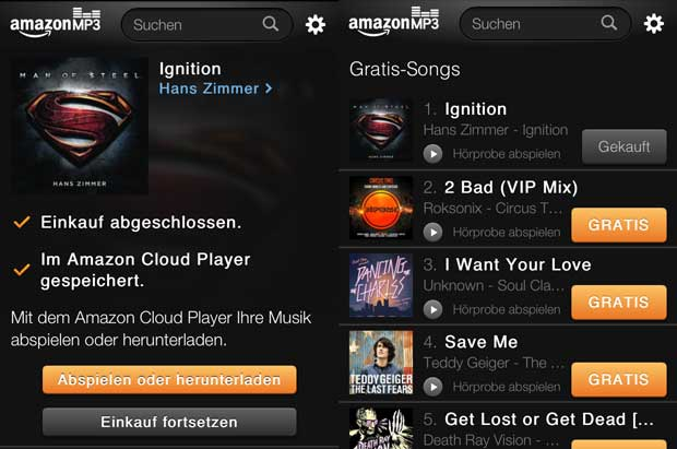 Amazon MP3 Shop fürs iPhone   Kostenlose MP3 Downloads & Amazon Cloud Player amazon mp3