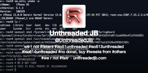 UnthreadedJB: unthredera1n iOS 6.1.3 & iOS 6.1.4 Jailbreak oder doch nur #FAKR 9