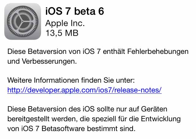 iOS 7 beta 6 ist da: Apple stellt neues iOS 7 beta6 Update zum Download & OTA bereit ios 7 beta 6 ota update