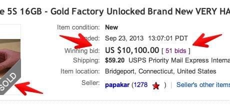 Goldenes iPhone 5s für 10000 Dollar bei Ebay versteigert 4