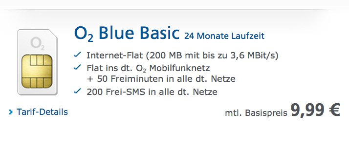 neu o2 blue basic mit o2 flat 200 mb internet 50 freiminuten 200 sms f r 9 99 eur. Black Bedroom Furniture Sets. Home Design Ideas