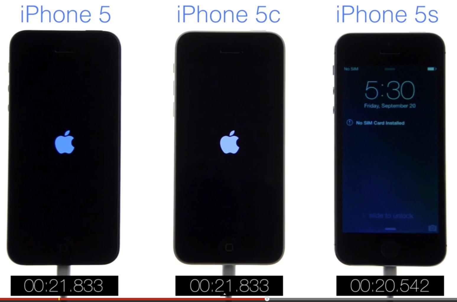 Speedtest IPhone 5s Vs 5c 5 IOS 7 Boot