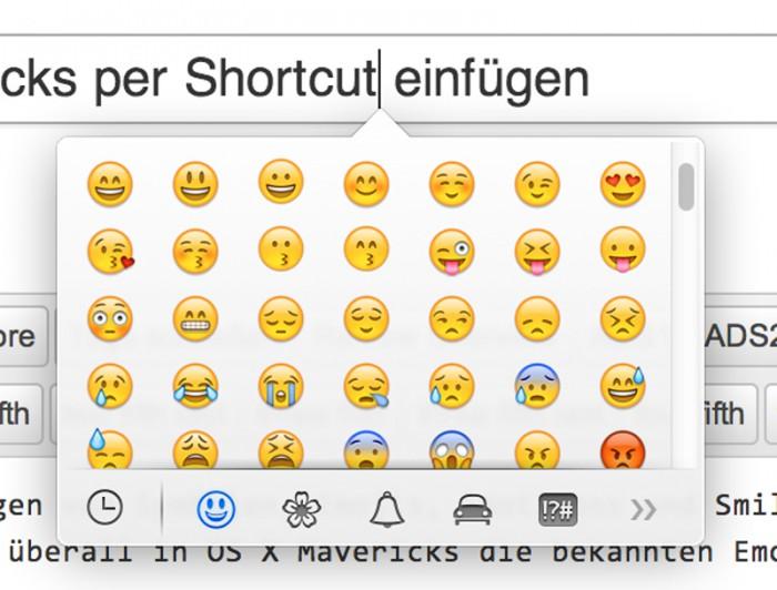 Tipp emojis smileys symbole in os x mavericks per shortcut