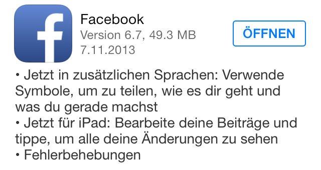 Facebook App für iOS: Update bringt Bearbeiten von Einträgen aufs iPad 11
