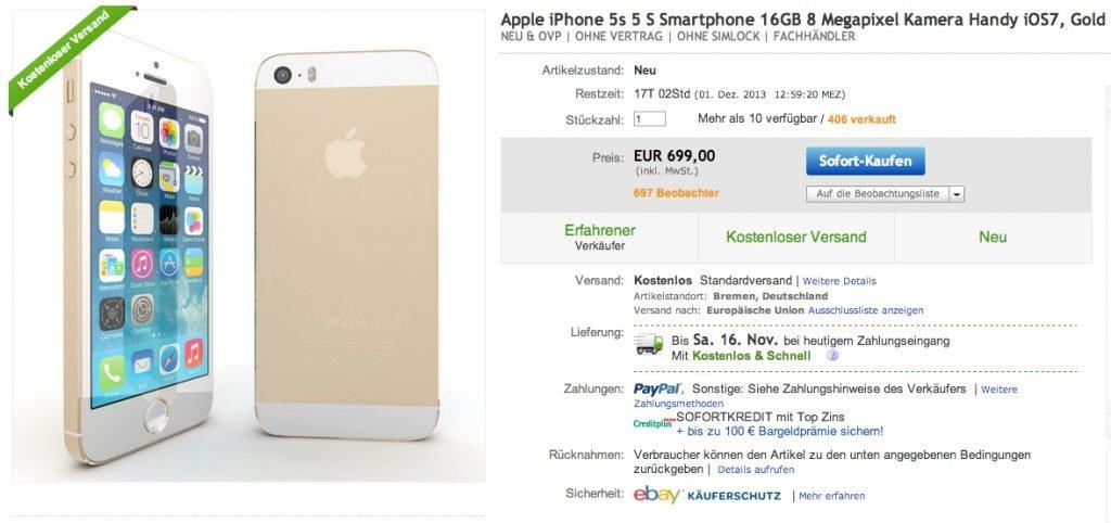 Ebay Wow Goldenes Iphone 5s 16gb Mit Sofortversand
