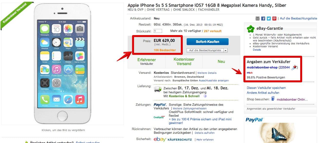 iphone 5s nur heute f r 629 euro bei ebay. Black Bedroom Furniture Sets. Home Design Ideas