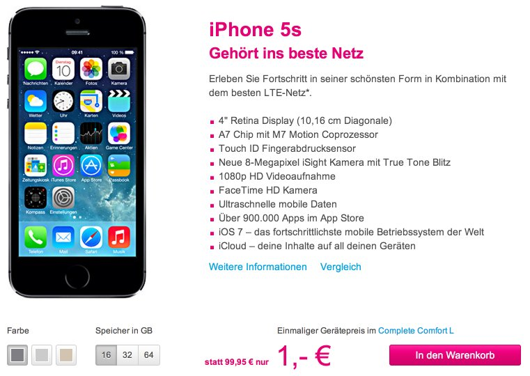 iphone 5s mit vertrag telekom aktion iphone 100 euro. Black Bedroom Furniture Sets. Home Design Ideas