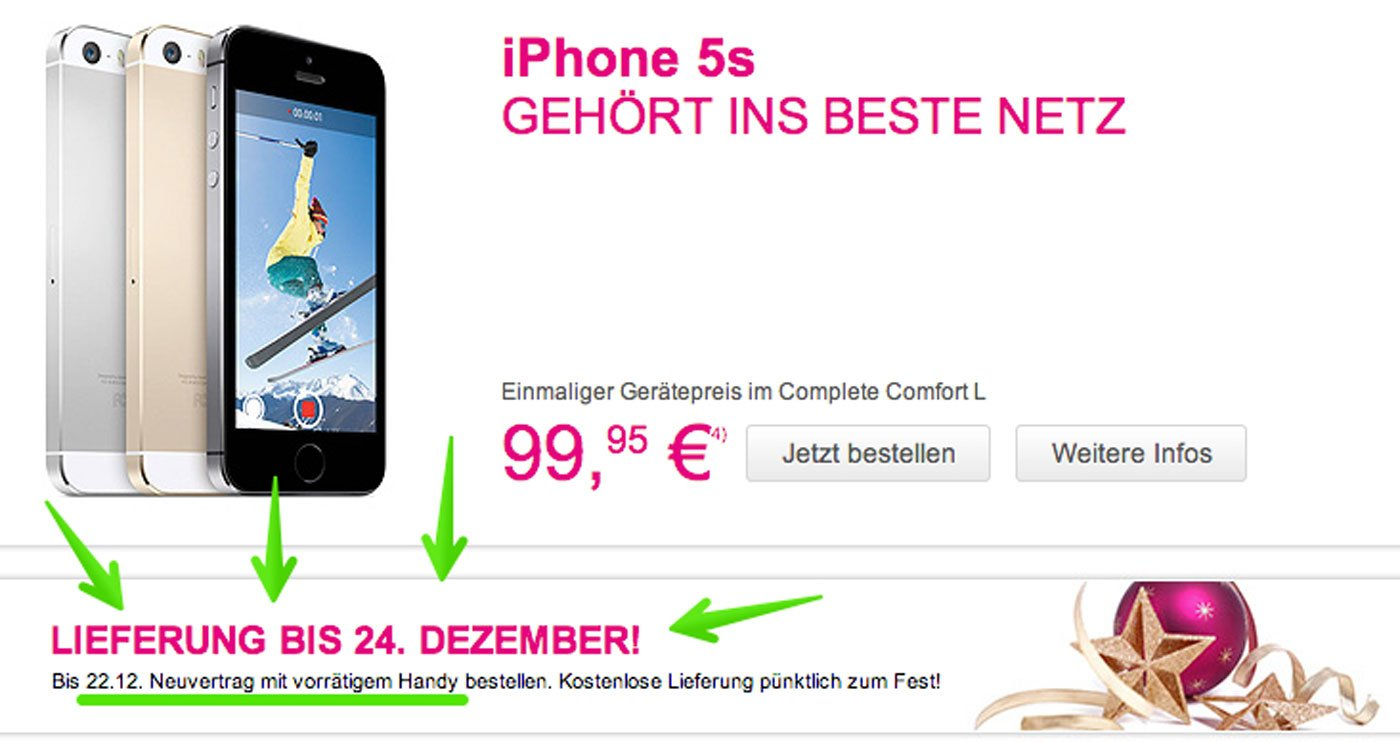 iphone 5s telekom garantiert lieferung bis weihnachten. Black Bedroom Furniture Sets. Home Design Ideas