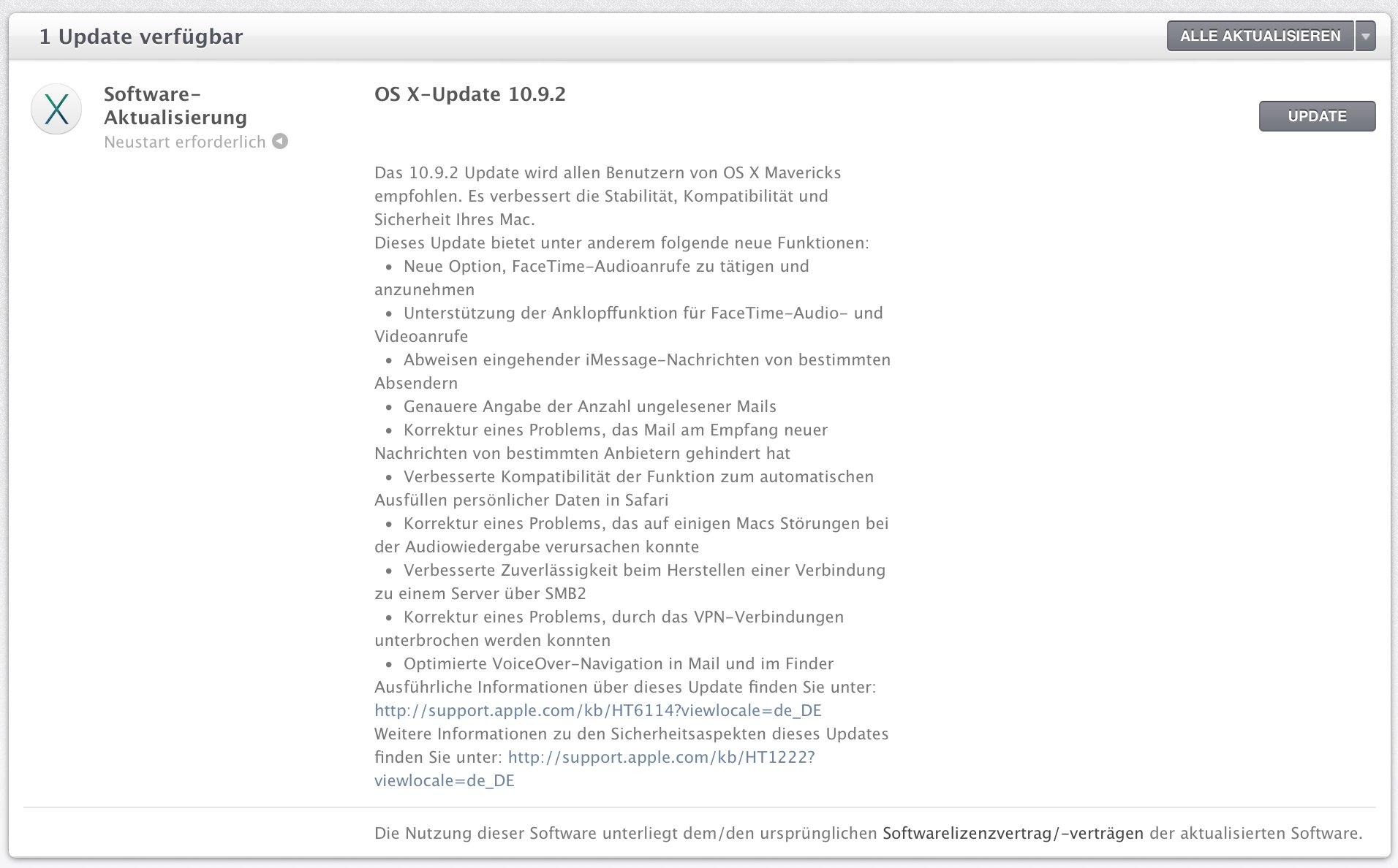 OS X 10.9.2: SSL-Fix, Facetime Audio für Mac  1