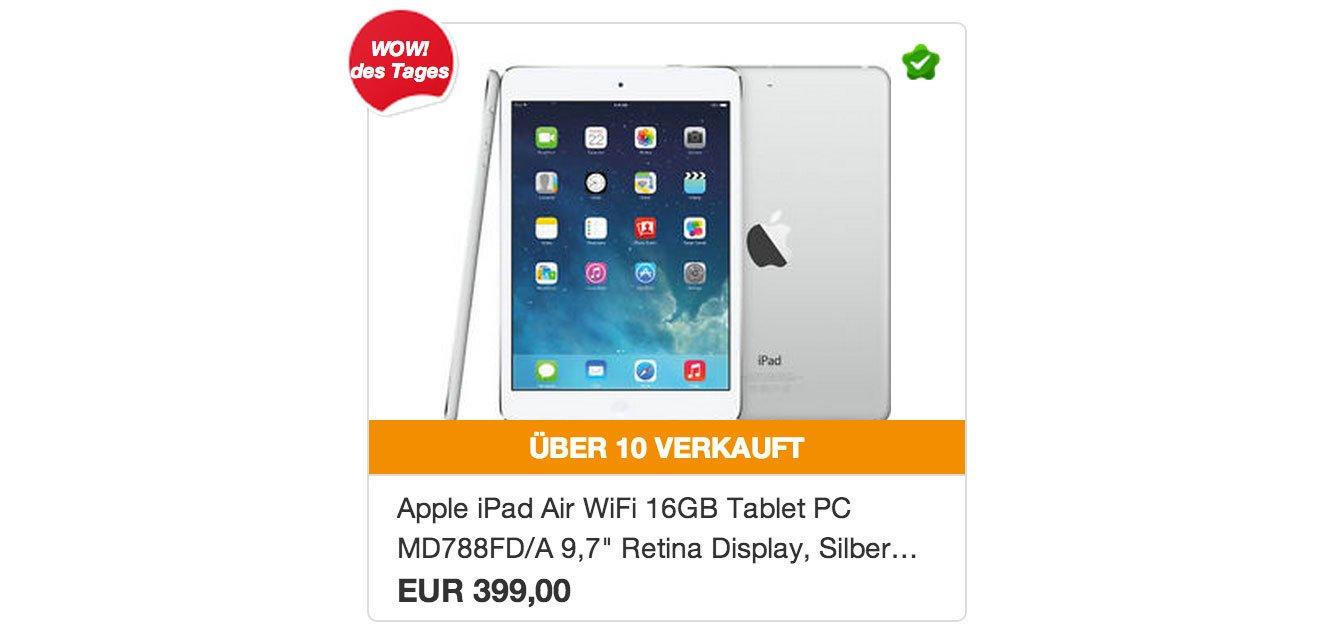 Angebot: Apple iPad Air für 399€ bei Ebay WOW! 5