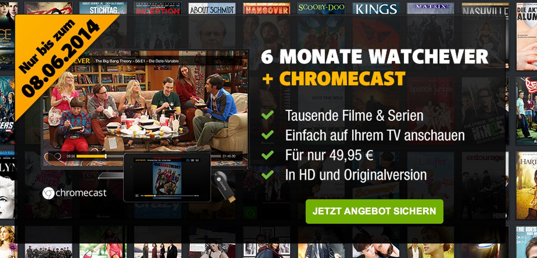 Watchever Aktion: 6 Monate mit gratis Chromecast  1