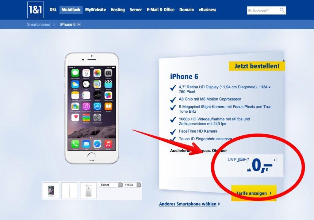 "iPhone 6 bei 1&1: ""kostenlos"" ab 0 Euro!"