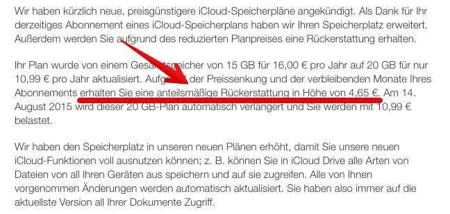 Apple: Geld zurück dank neuer Apple iCloud Speicherpläne!