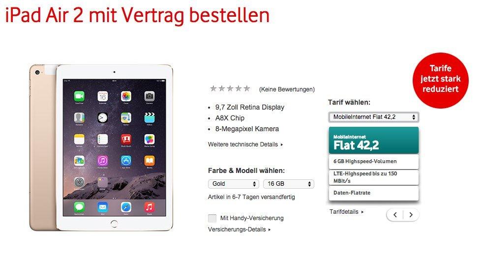 Vodafone iPad Air 2: Vodafone startet Vorbestellung
