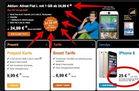 Congstar Aktion: iPhone 6 Vergleich und Allnet Flatrate im Telekom Netz billiger 6