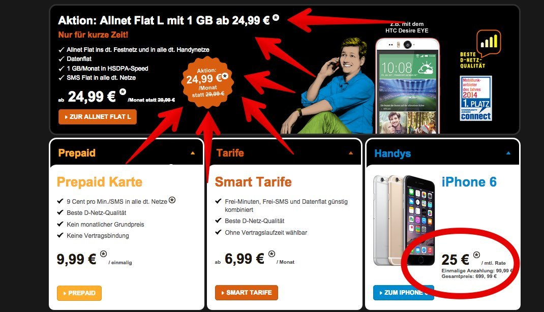 Congstar Aktion: iPhone 6 Vergleich und Allnet Flatrate im Telekom Netz billiger 7