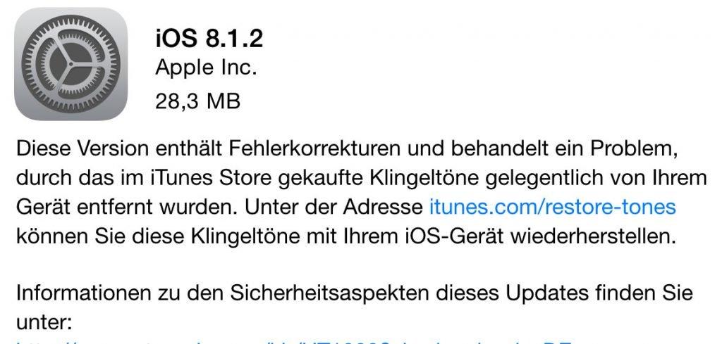 Apple veröffentlicht iOS 8.1.2 Download & iOS 8.1.2 Jailbreak 8.1.2. update 1024x489