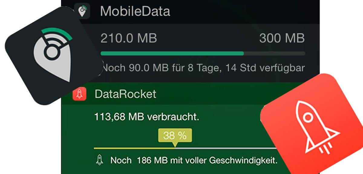 MobileData für O2, DataRocket für Telekom: Anzeige Datenverbrauch mit iOS 8 Today Widgets 10