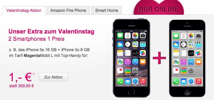 iphone zum valentinstag telekom aktion gleich mit 2 iphones. Black Bedroom Furniture Sets. Home Design Ideas