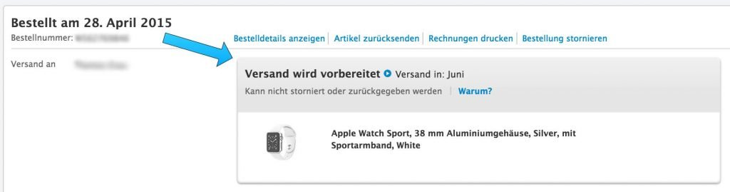 apple watch sport versendet