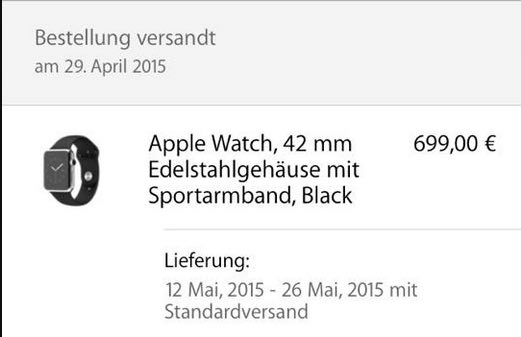 Apple Watch versendet