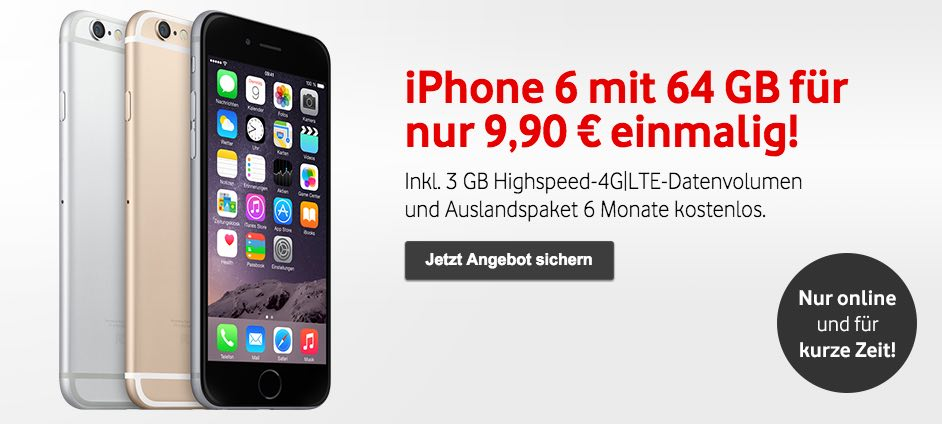 vodafone deal iphone 6 64gb mit vertrag f r 9 90 euro. Black Bedroom Furniture Sets. Home Design Ideas