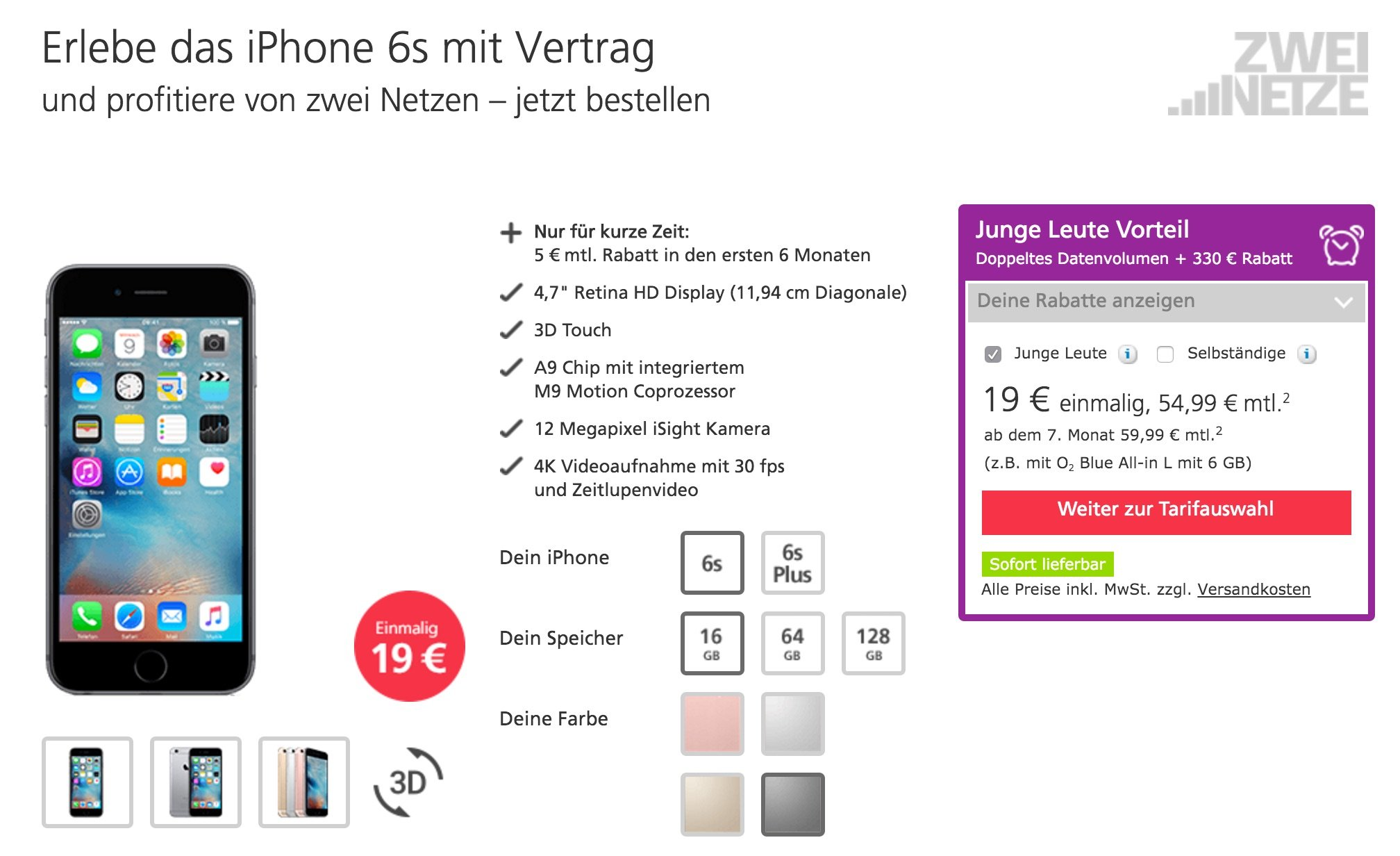 iphone 6s angebote bei telekom o2 vodafone g nstig kaufen. Black Bedroom Furniture Sets. Home Design Ideas