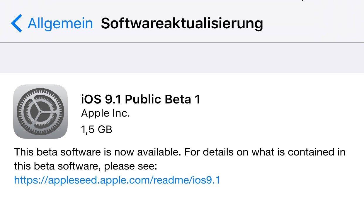 Download für alle: iOS 9.1 als Public Beta 1 erhältlich 8