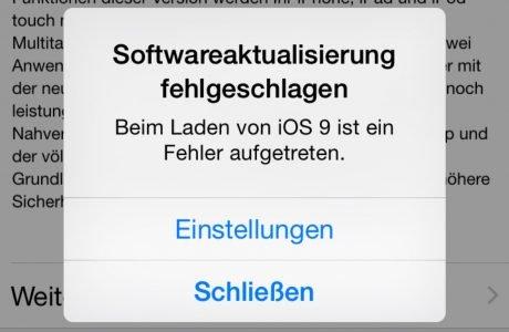 iOS 9: Softwareaktualisierung fehlgeschlagen - iOS 9 Update nicht möglich / geht nicht 3